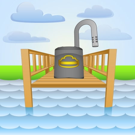 coast guard: river pier with opened padlock