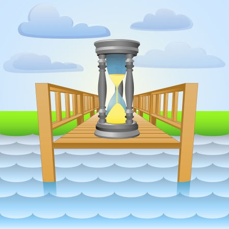river pier with summer time passing  Vector
