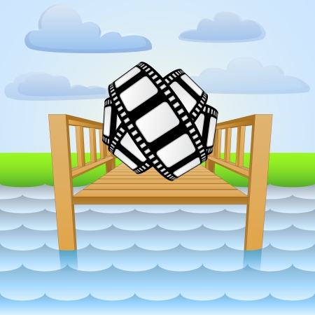 river pier with movie tape relaxing Vector