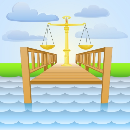 river pier with weight of liberty  Vector