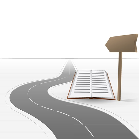 road leading to education with book  Illustration