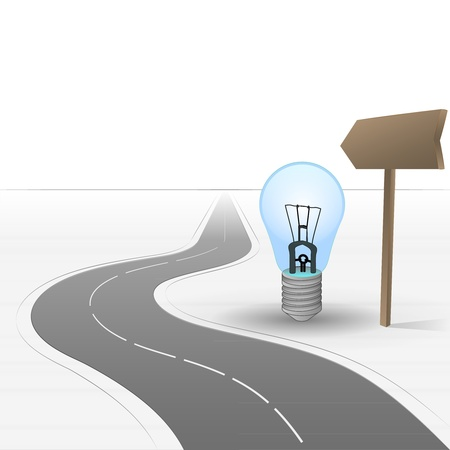 inventions: road leading to inventions with bulb  Illustration