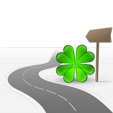 felicity: road leading to happiness with cloverleaf  Illustration
