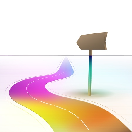 curve ahead sign: colorful curved motorway with signpost  Illustration