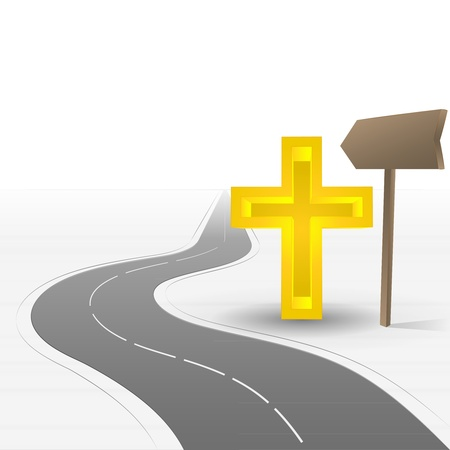 godness: road leading to church with cross