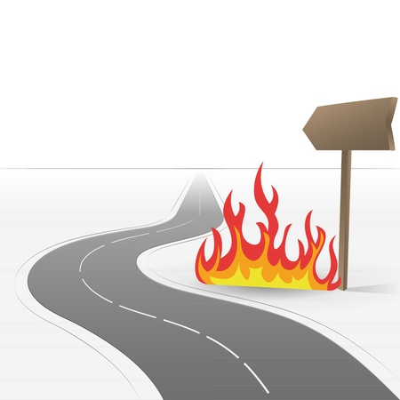 road leading to danger fire  Vector