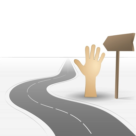 road leading to help with human hand  Vector