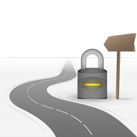 road closed: road leading to security  with closed padlock  Illustration