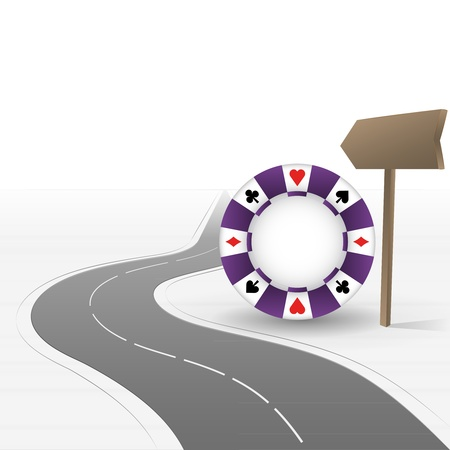 road leading to casino with poker chip Vector