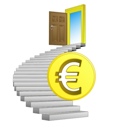 spiral stairs: direction leading to business life with euro coin  Illustration