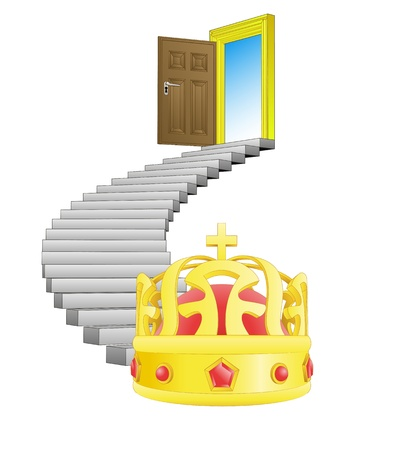 spiral stairway with royal crown concept Stock Vector - 21659974