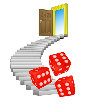 spiral stairway with rolling dice concept  Vector