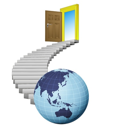 stairway exploration door leading to asian world Stock Vector - 21659976