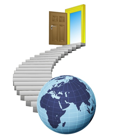stairway exploration door leading to africa world  Stock Vector - 21659978