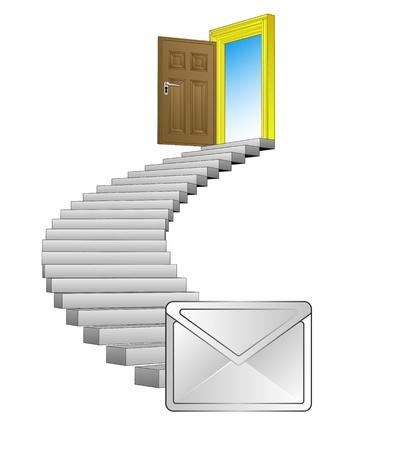 spiral stairway: spiral stairway with post message concept