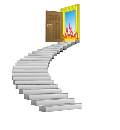 spiral stairway with danger fire concept  Illustration