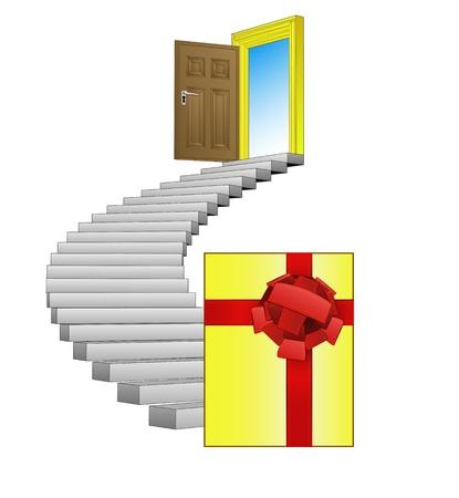 spiral stairway: spiral stairway leading to surprise concept