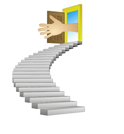 spiral stairway leading to human help concept Stock Vector - 21659986
