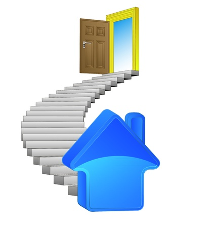 new house: spiral stairway with new house concept Illustration