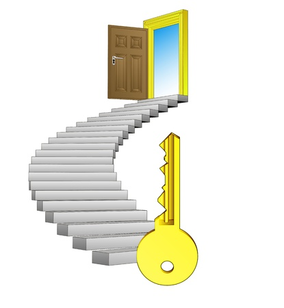 spiral stairway with key success concept Vector