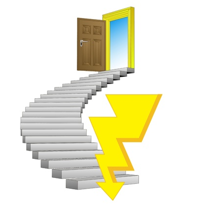 danger bolt strikes to spiral stairway concept Stock Vector - 21659988
