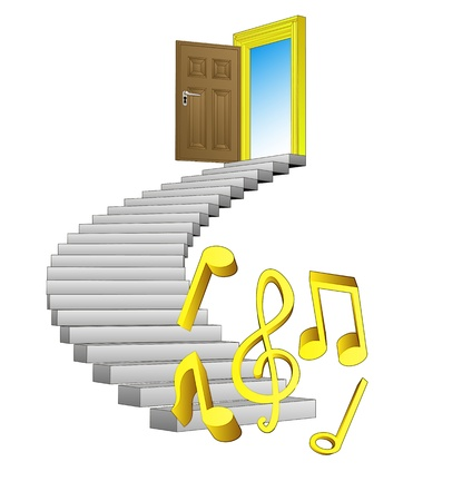 spiral stairway: spiral stairway leading to music paradise  Illustration