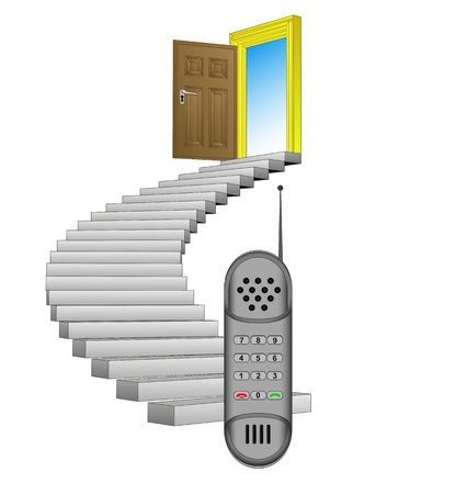 spiral stairway leading to phone communication Stock Vector - 21659992