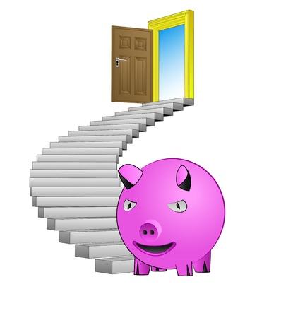 spiral stairway: spiral stairway with pink pig concept