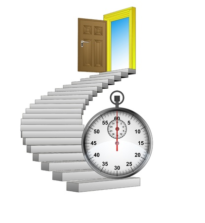 timescale: spiral stairway with stopwatch concept