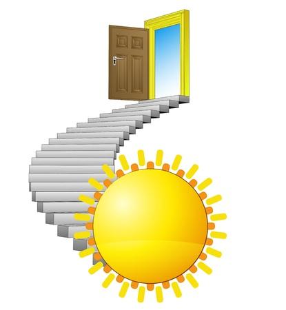 spiral stairway: spiral stairway leading to summer paradise