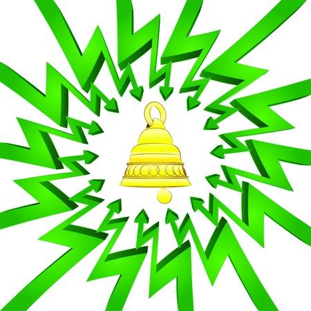 összpontosított: green circle arrows focused to golden bell  Illusztráció