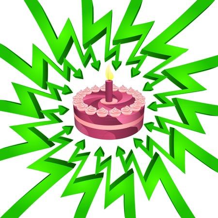 összpontosított: zöld kör nyilak középpontjában a születésnapi ünneplés