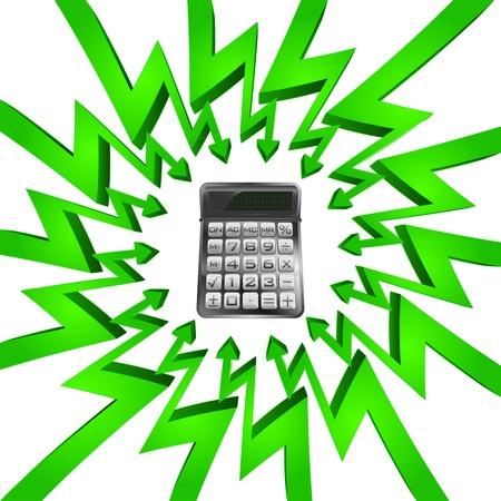 összpontosított: zöld kör nyilak középpontjában az üzleti számítás