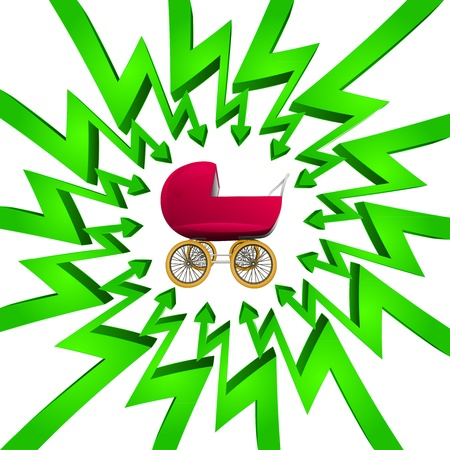focused: green circle arrows focused to baby carriage  Illustration
