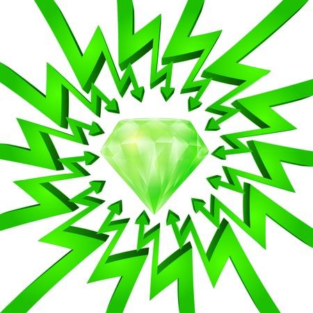 összpontosított: green circle arrows focused to large diamond