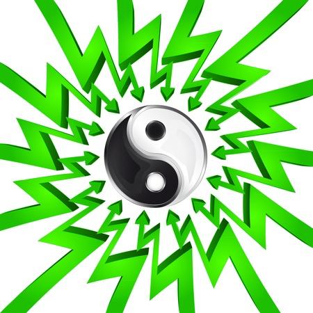 összpontosított: green circle arrows focused to yin and yang balance