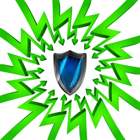 összpontosított: green circle arrows focused to shield of security