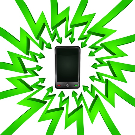 összpontosított: green circle arrows focused to smart phone  Illusztráció