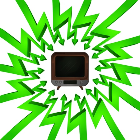 focused: green circle arrows focused to television entertainment