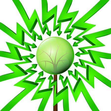 összpontosított: green circle arrows focused to endangered tree