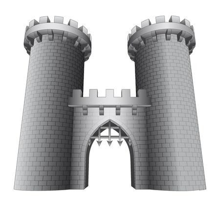 rejas de hierro: aislado puerta del castillo con dos torres