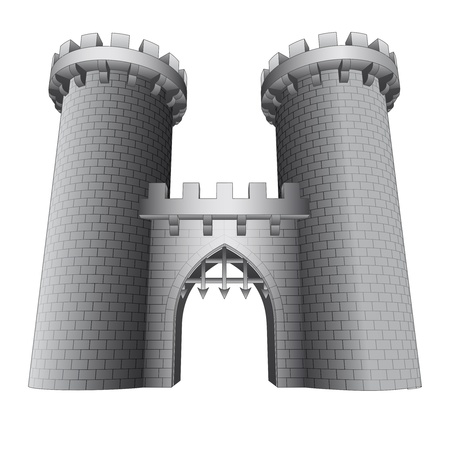 iron door: isolated castle gate with two towers