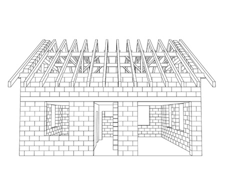 front house construction line drawing  Vector