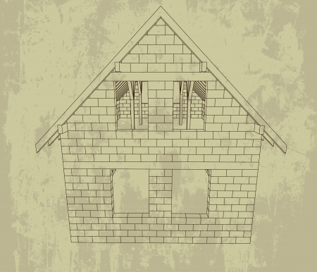 bricked house line drawing grunge plan  Vector