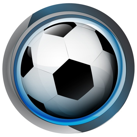 smart goals: football icon in shiny glass circle button  Illustration