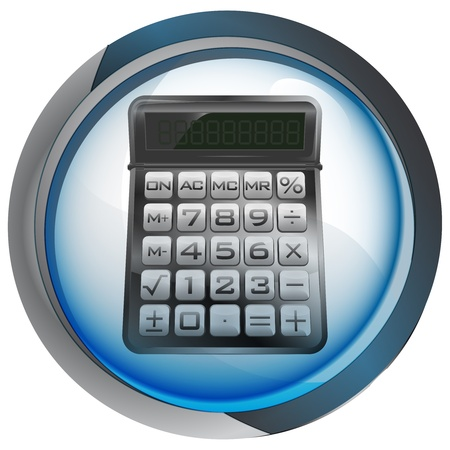business calculator in shiny glass circle button Stock Vector - 21660038