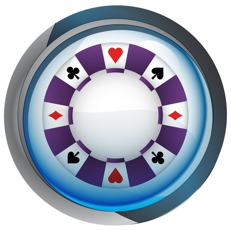 casino poker chip in shiny glass circle button  Vector