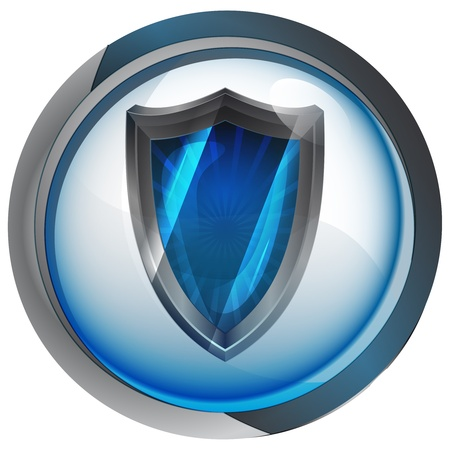 anti virus shield in shiny glass circle button  Vector