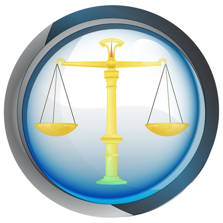 weight of justice in shiny glass circle button  Vector