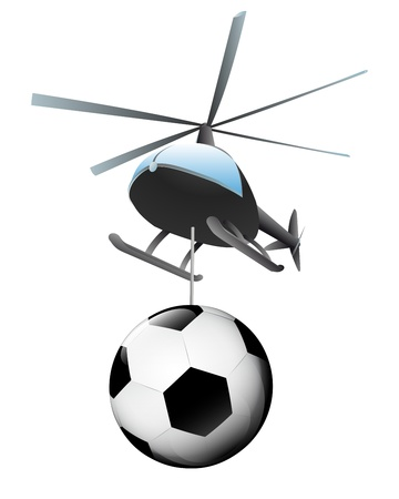 helicopter transport of large football ball  Vector
